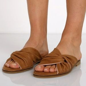 NIB Knotted Distressed Soft Leather Mule Slides
